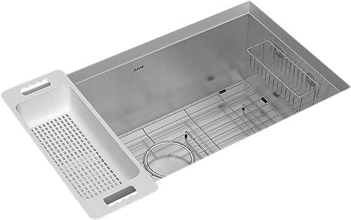 Urbino 30 Inch Undermount Single Bowl Kitchen Sink, 16-Gauge Stainless