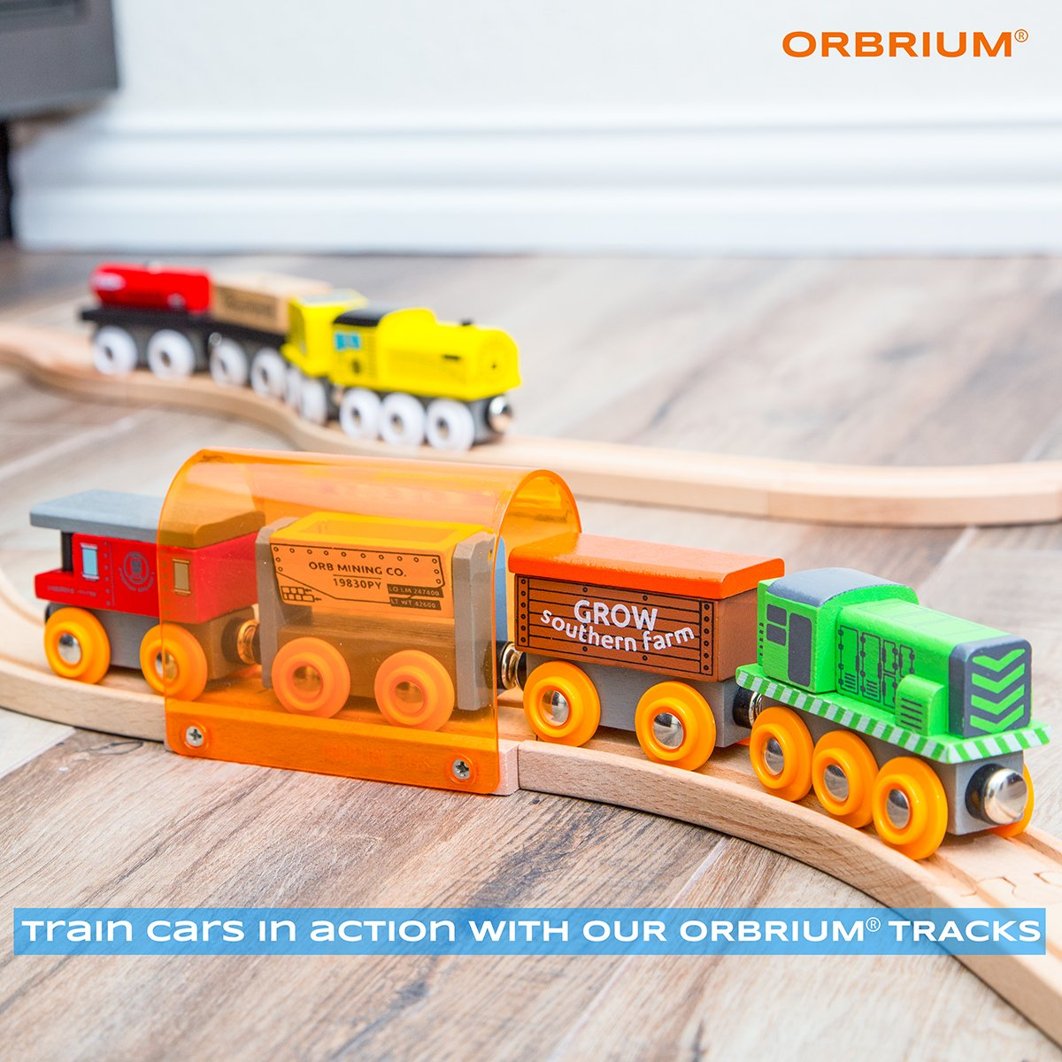 Orbrium Toys 12 Pcs Wooden Engines & Train Cars Collection Compatible with Thomas Wooden Railway, Brio, Chuggington by Orbrium Toys (Image #3)