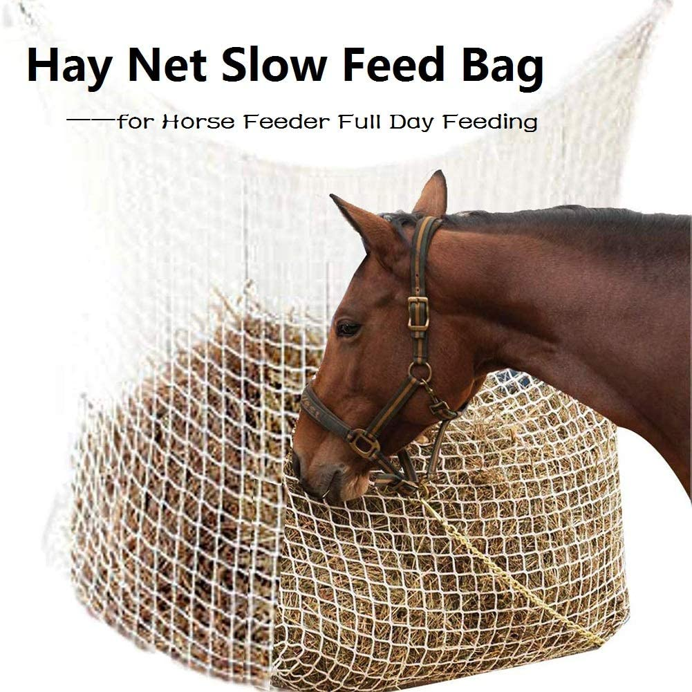 ggaggaa Hay Net Bag Slow Feed Bag for Horse Feeder Full Day Feeding Large Feeder Bag with Small Holes