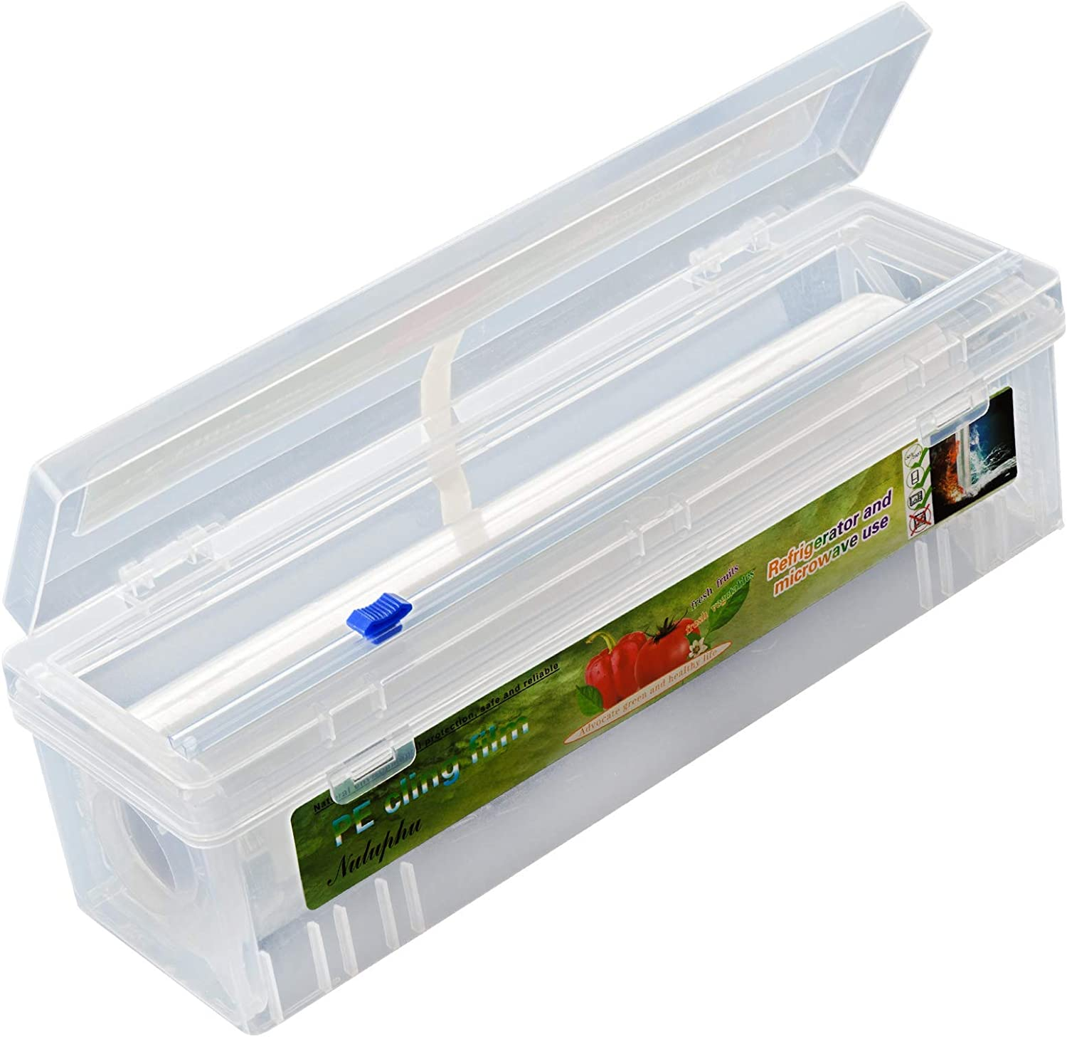 Plastic Cling Wrap Refillable Plastic Wrap Dispenser with Slider Cutter Food Wrap Stretch Clear Cling Wrap 12 inch×650 Ft (Cutting Box + Cling Film)