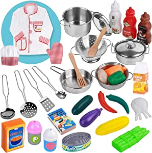 MerryXGift Kitchen Pretend Play Toys - 35 Pcs Stainless Steel Cookware Pots and Pans Toys, Chef Costume, Cooking Utensils and Play Foods for Toddler Kids Girls Boys