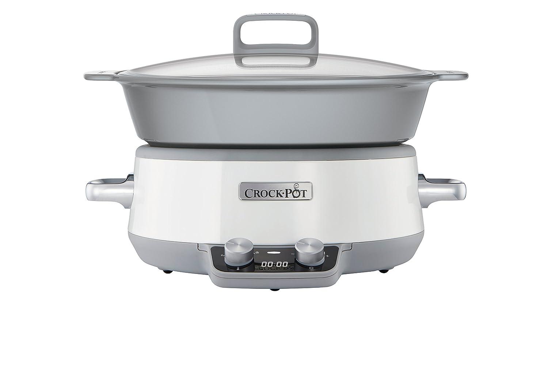 Crock-Pot Duraceramic CSC027X - Olla de cocción lenta digital, 6 L, color blanco [Clase de eficiencia energética A]