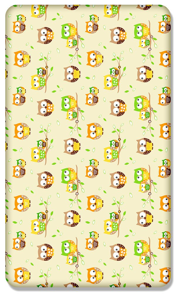 Bees green 100/% COTTON FITTED SHEET WITH PRINTED DESIGN FOR BABY CRIB 90x40CM