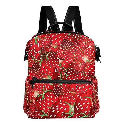 0548f15545d7 VAWA リュック 大容量 おしゃれ イチゴ 果物 フルーツ 赤 絵柄 リュックサック 高校生 防水 多機能