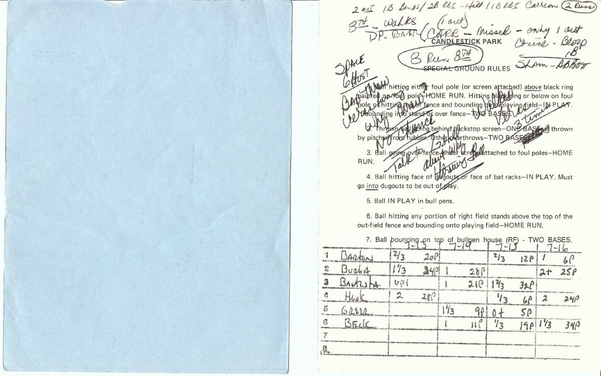 Dusty Baker Autographed Official Batting Line Up Card 7/17/95 Giants vs Marlins