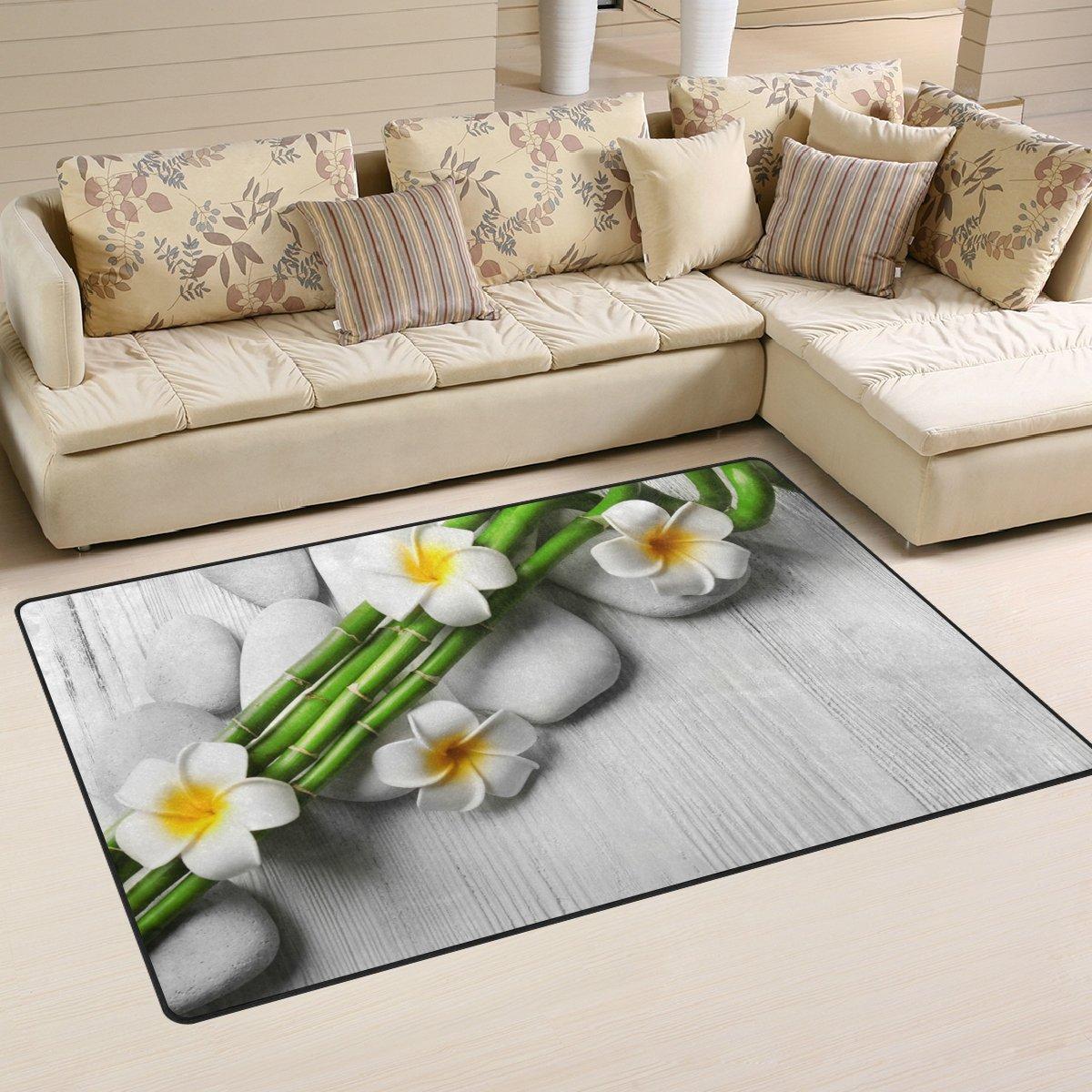 WellLee Area Rug,Beautiful Spa Bamboo On Light Floor Rug Non-slip Doormat for Living Dining Dorm Room Bedroom Decor 60x39 Inch