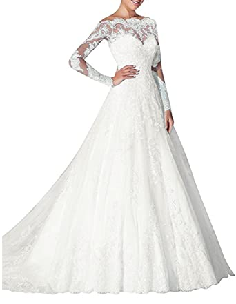 Udresses Womens Boat-Neck Solid Sleeve Long Gown Dress, Ivory-a-Line