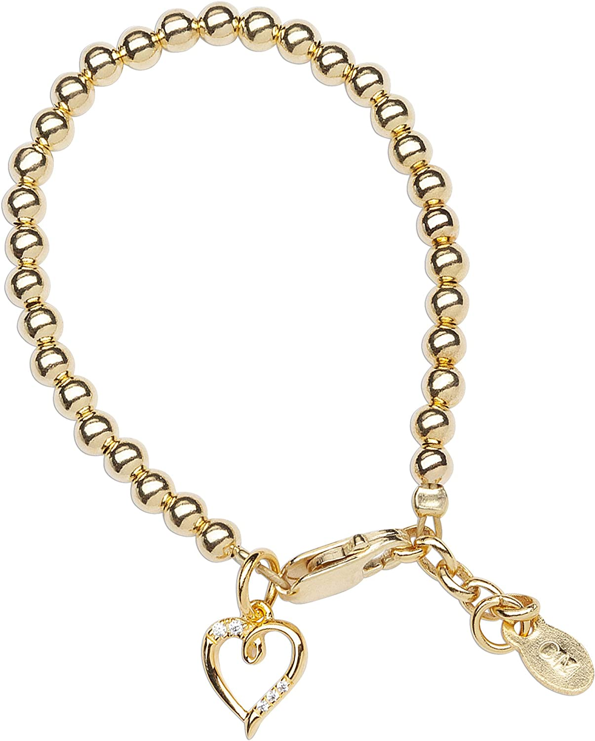 Children's 14K Gold-plated Bracelet with Open Heart Charm for Girls