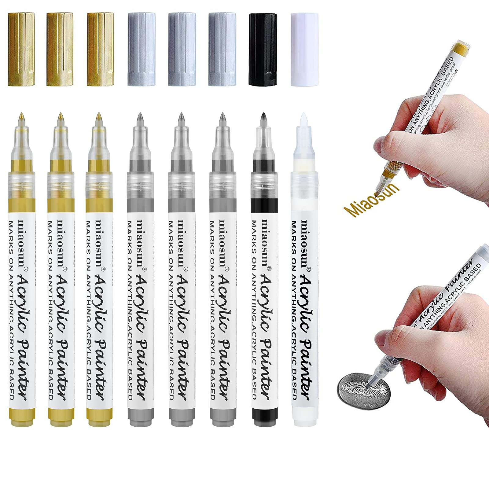 Acrylic Paint Pens,8 Pack 0.7mm Gold and Silver Metallic Permanent Markers for Wood, Glass, Metal and Ceramic - Water Based by miaosun(3 Gold 3 Silver 1Black 1White)