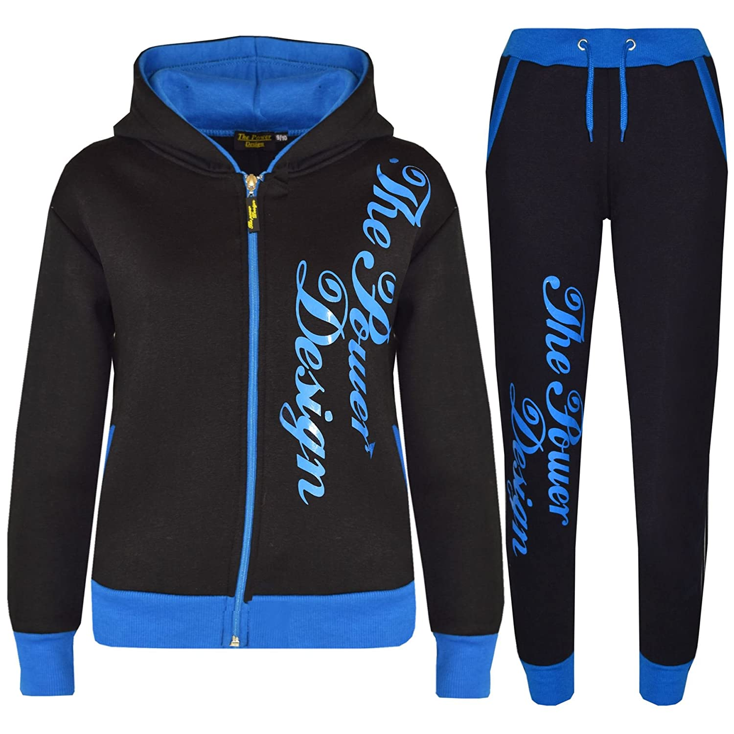 A2Z 4 Kids® Kids Tracksuit Designer's Girls Boys The Power Design Top & Bottom Jogging Suit