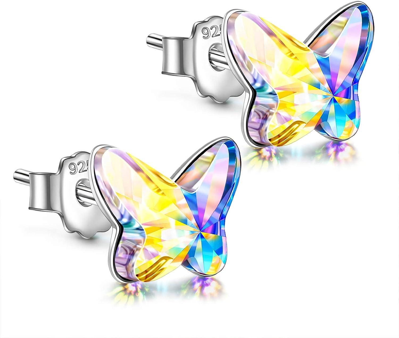 ANGEL NINA Regalo de Navidad para ella, aretes para mujer, serie mariposa, plata 925 con Cristal de Swarovski, cada momento especial, exquisita caja de regalo