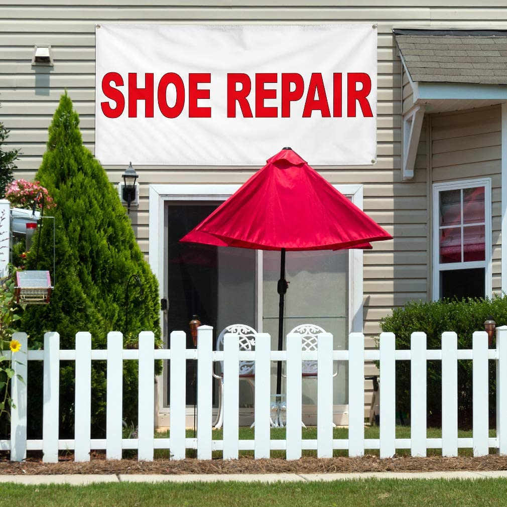 Vinyl Banner Multiple Sizes Shoe Repair Red B Business Outdoor Weatherproof Industrial Yard Signs 4 Grommets 16x40Inches