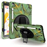 iPad 8th 7th Gen Case 10.2, KIQ Heavy Duty Shockproof Protection, Kickstand, Hand Strap, Pencil Holder Loop, Carry Shoulder S