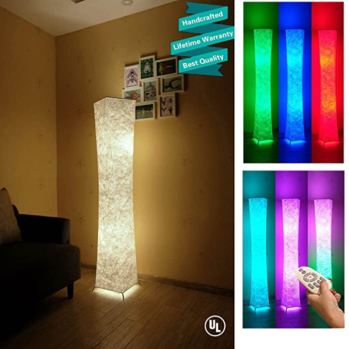 """61"""" Soft Light Floor Lamp,LEONC RGB Color Changing LED Tyvek Fabric Shade Modern Floor Lamp with Fabric Shade & 2 Smart LED Bulbs for Livingroom Bedroom Warm Atmosphere(Tyvek Dupont 10 x 10 x 61 inch"""
