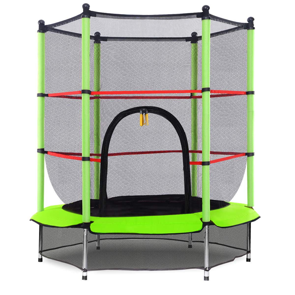 Giantex 55'' Round Kids Mini Jumping Trampoline W/Safety Pad Enclosure Combo (Green) by Giantex