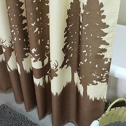 Eanshome Dekorative Country braun Hirsch Walking in die B/äume Muster Duschvorhang Textil