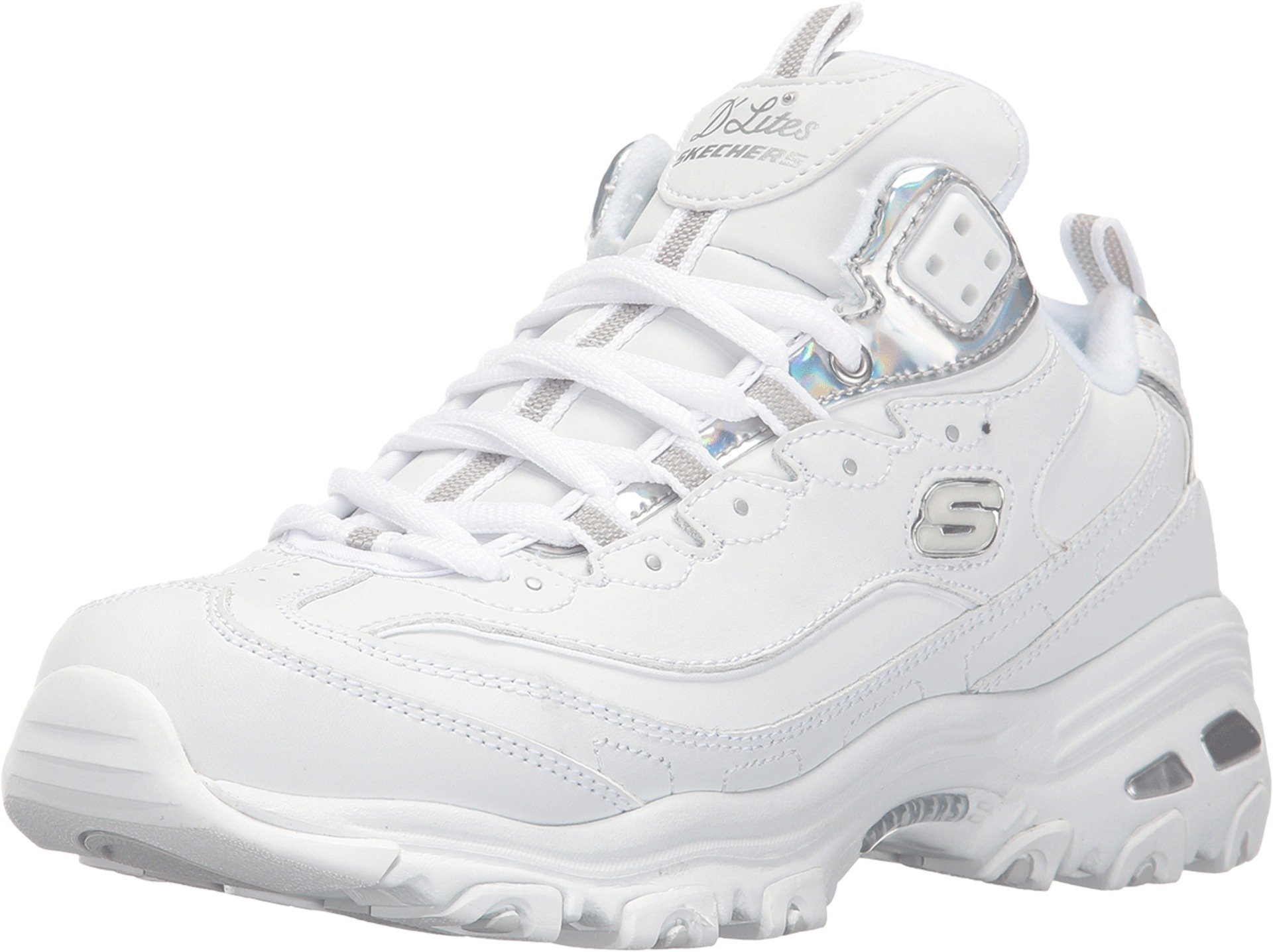 Skechers Women's D'Lites - Style Rethink White/Silver Sneaker 9.5 B (M)