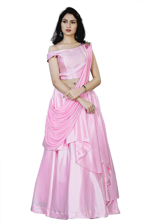 Buy Women S Party Wear Crop Tops Lehenga Choli Pink Medium At Amazon In