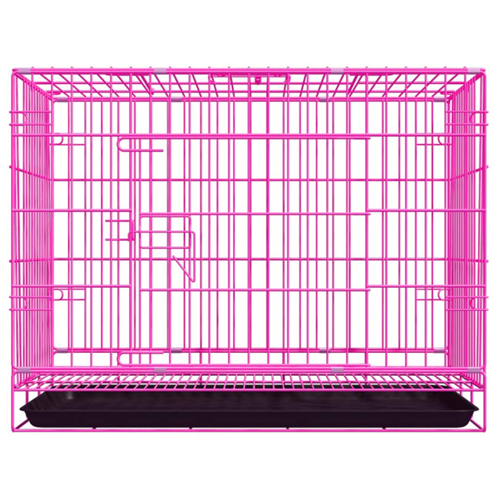 Pink SmallHulinlian Pet Cage, Collapsible Dog Cage Thick Line Durable Small Medium Pet Cat,bluee,S