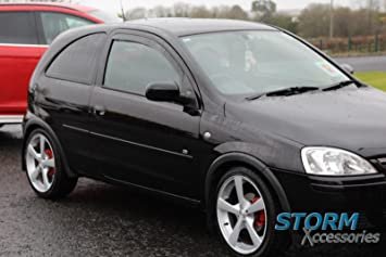 Storm Xccessories Vauxhall Corsa C 3 Dr 2000 2005 Wind Deflectors Rain Shields Front Set Internal Fit 18026