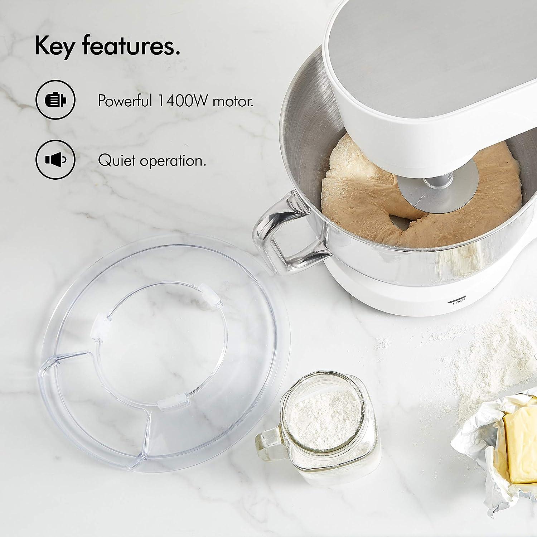 VonShef 1400W Black Stand Mixer – Professional Food Mixer//Dough Blender – with Dough Hook Flat Beater Whisk – Baking Essential Whisk Baking Essential