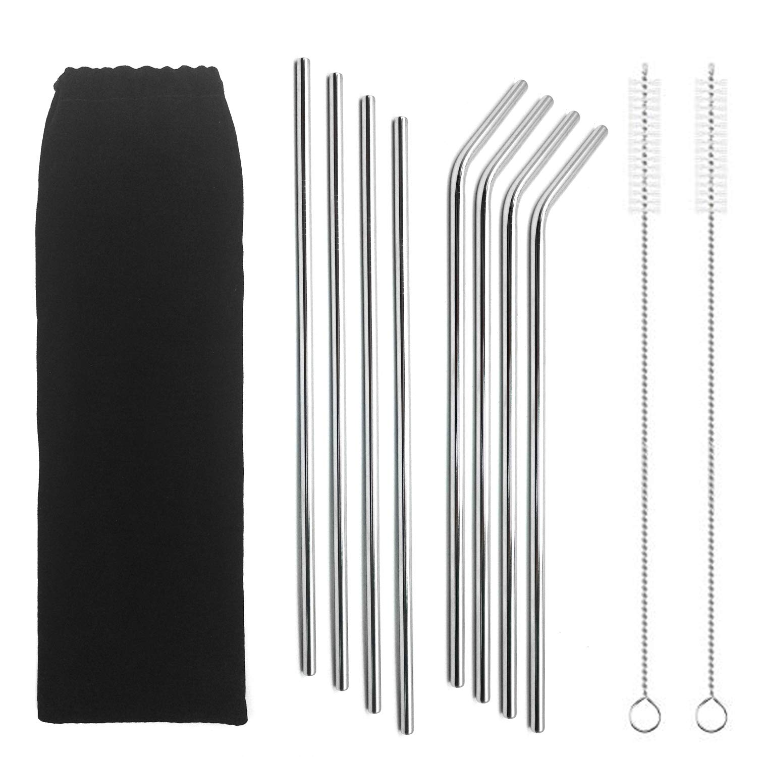 Ultra Long Stainless Steel Straws - Ryan Smith 10.5 Inch Drinking Metal Straws for Tumblers Rumblers Cold Beverage - 4 Straight 4 Bent 2 Brushes