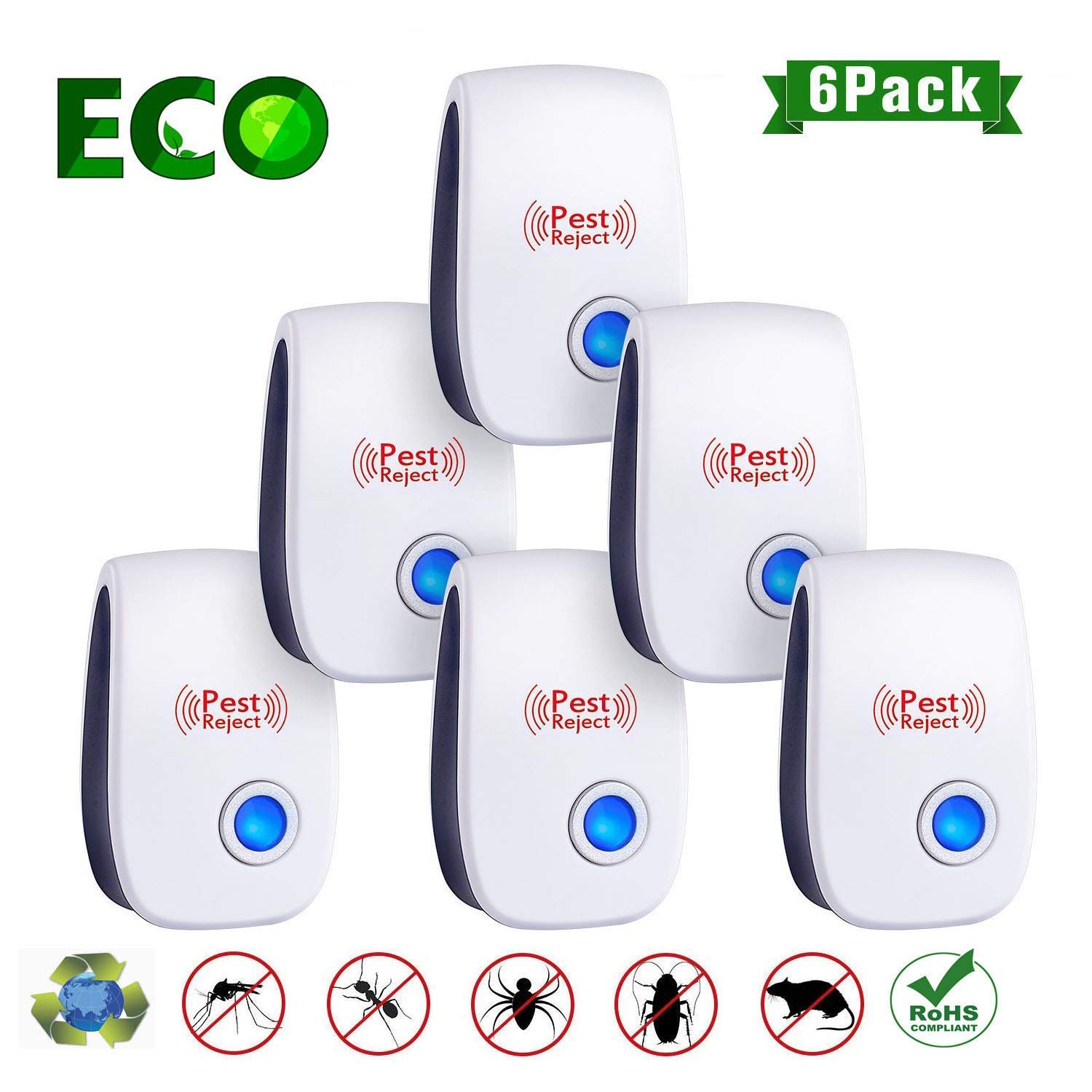 WEII Mosquito Ultrasonic Pest Repeller 2019 - Ultrasonic Pest Repellent Pest Control Professional Plug in Electronic Repel (6 Pack) - Repels Ants, Fleas, Rats, Rodents, Roaches, Fruit Flies.etc by WEII