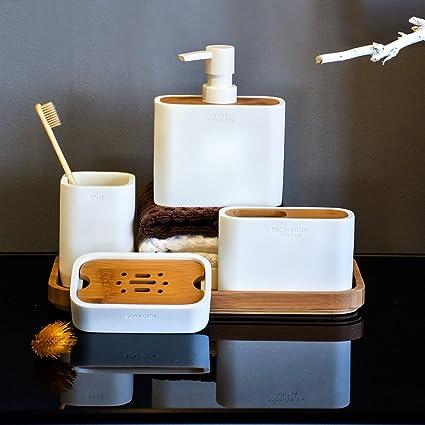 Juego de accesorios de baño 5 piezas Dispensador de jabón 764e3c8352d3