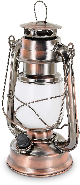 LED Retro Sturmlampe - Drehschalter mit Dimmfunktion - Metallgehäuse - Batterie - warmweiß (2700 K) [Energieklasse A+] HAVA