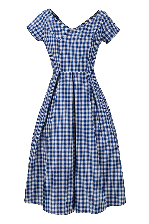 Women Vintage 50s 60s V Neck Gingham Plaid Swing Dress at Amazon ...