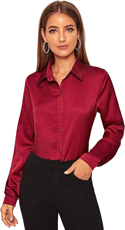 Camicia da donna in raso con bottoni camicetta a maniche lunghe fluida ed elegante SOLY HUX