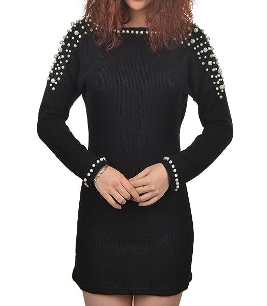 binin Box Donna Vestiti Nero Backless mini lana per maglieria Perle Maglia  a maniche lunghe Rock Cocktail Vestito Da Partito Abito da sera  Amazon.it   ... ae027b4fc46