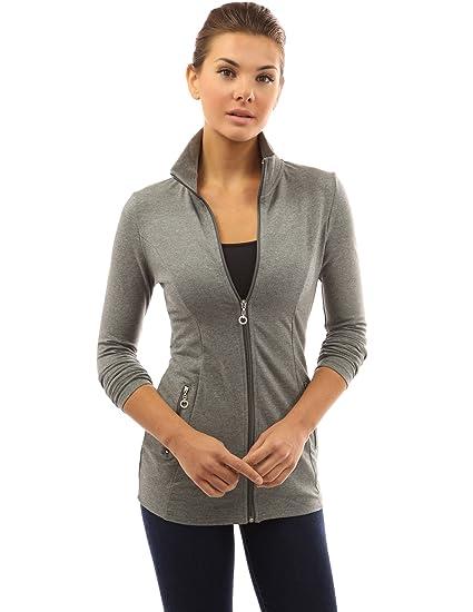 a562ad6070f PattyBoutik Women Collar Pockets Casual Zip Jacket