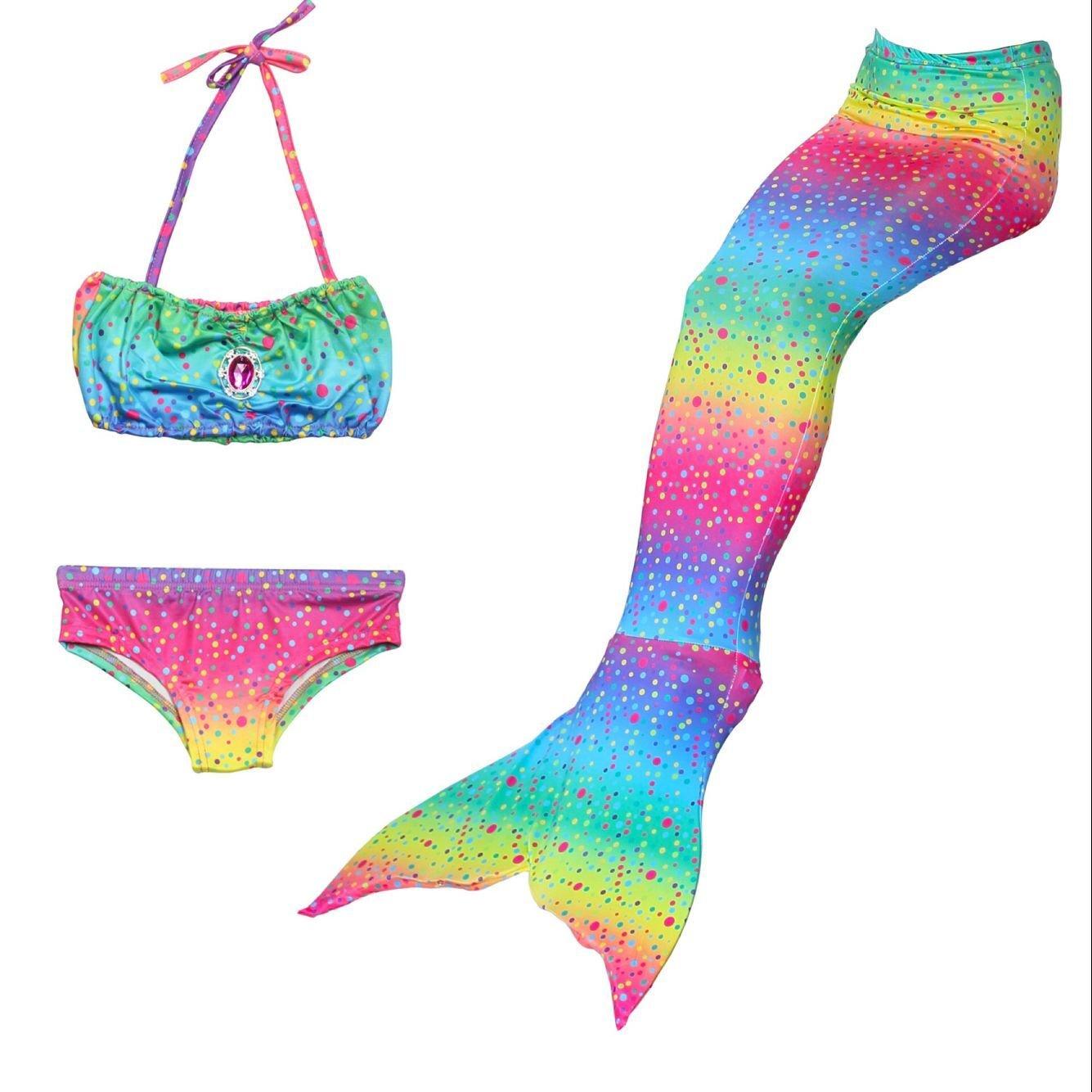 thematys Meerjungfrau Badeanzug zum Schwimmen - Kostüm-Set für Kinder - Ideal zum Schwimmen und Tauchen - Mädchen Mermaid Tail Bikini Badeanzug