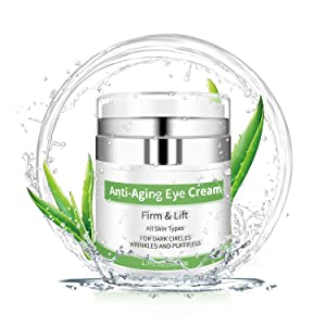 Eye Cream - Under Eye Treatment for Anti Aging, Dark Circles, Eye Bag & Puffiness with 43% Aloe Vera, Retinol, Vitamin C & E Eye Treatment for Men/Women's Eye Cream