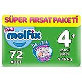 Molfix 3D Bebek Bezi Maxi Plus 4+ Beden, Super Fırsat Paketi 72 Adet