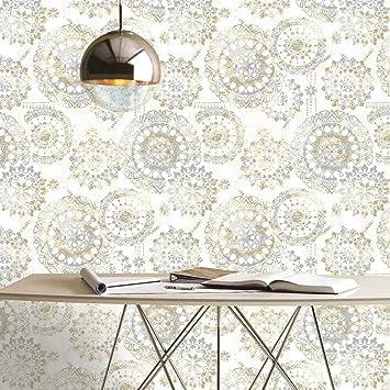 Amazon Com Roommates Bohemian Tan Blue Peel And Stick Wallpaper Home Improvement