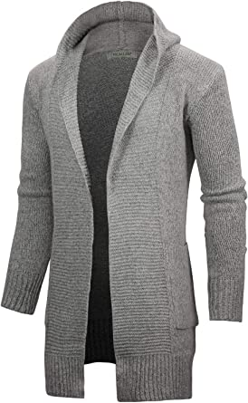 VICALLED Men's Long Cardigan Sweater Hooded Knit Slim Fit