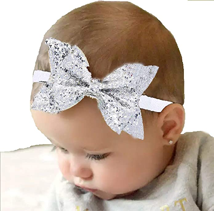 431f309a677 Ziory Silver Elastic Bow Headband Kids Hair Accessories for Baby Girl   Amazon.in  Jewellery