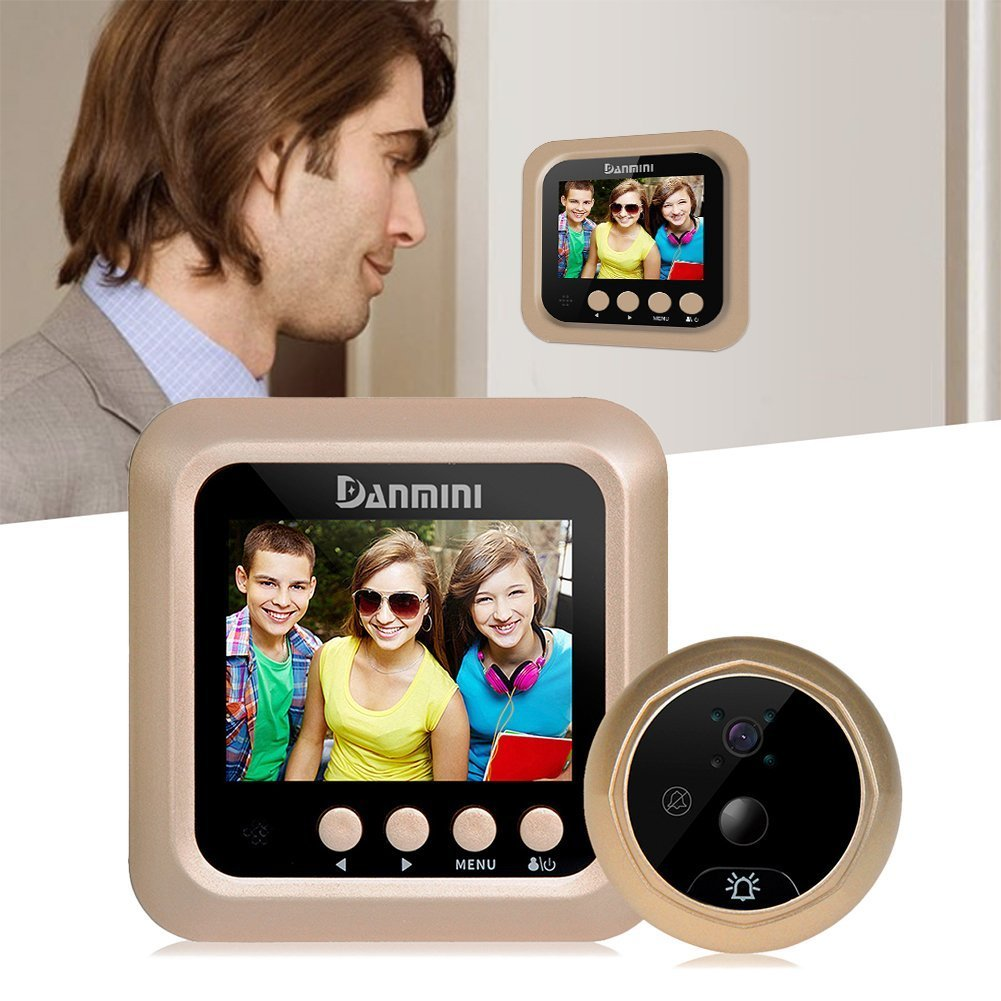 JIDIMI Digital Door Viewer & Doorbell - LCD Security Camera Monitor 160° Wide Angle Lens Video Record Photo Shooting - No APP - No PIR - Peephole Needed (Motion Detection)