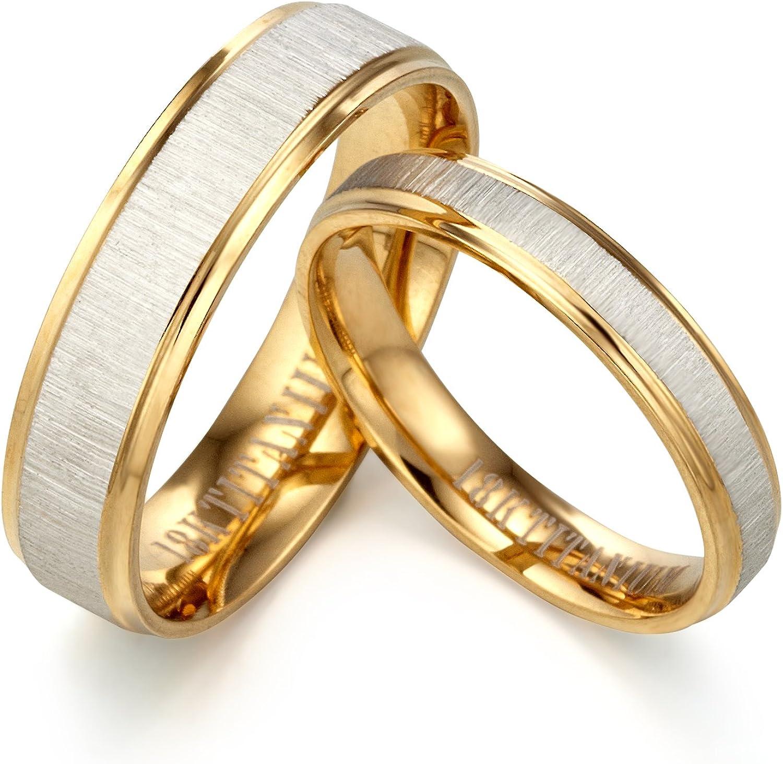 9 Gemini Groom /& Bride Beveled Edge Matching Couple Wedding Anniversary Titanium Ring Set Width 8mm /& 5mm Men Ring Size 10 Women Ring Size