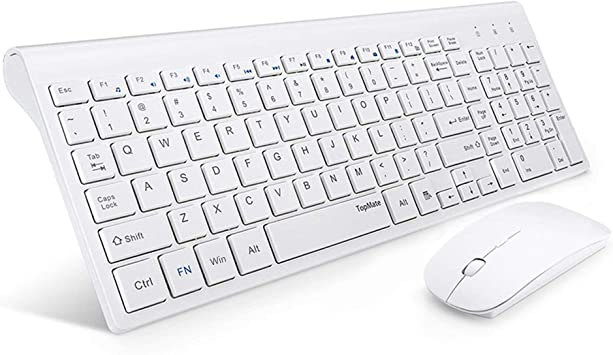 TopMate Wireless Keyboard and Mouse Combo 2.4GHz Ultra Thin Silent Wireless Keyboard and Mouse Ergonomic Design for Laptop PC Gray-Black