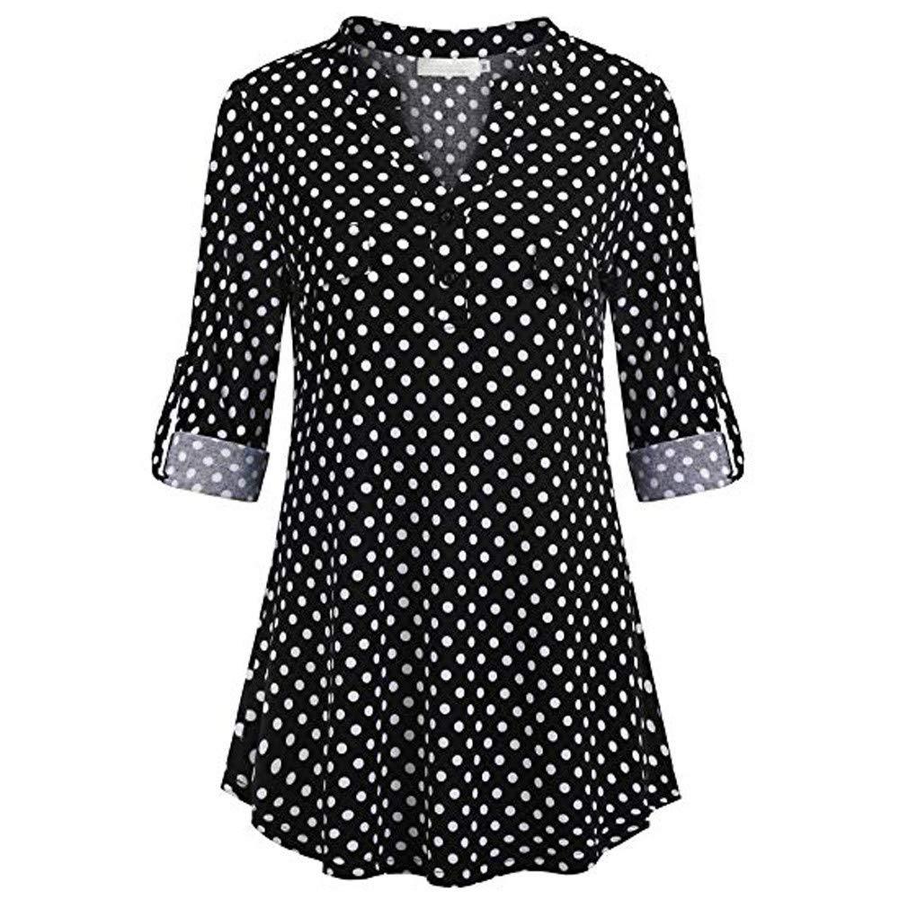 TnaIolral Women Shirt V Neck Floral Long&Half Sleeve Print Top