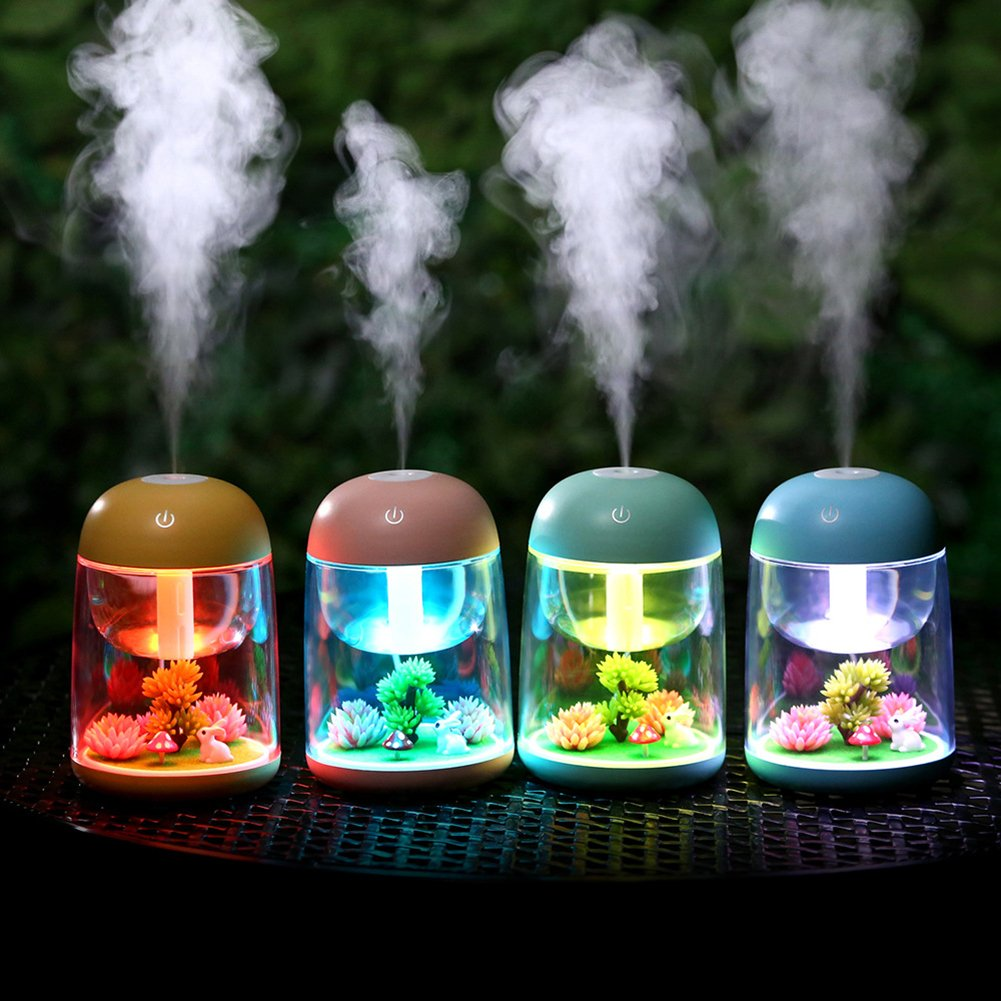 Mini USB Humidifier Colour Changing Cute Animal Air Purifier Portable Quiet Aromatherapy Essential Oil Diffuser Desktop Night Light for Desk Bedroom Office Car Kids, Blue/180ML