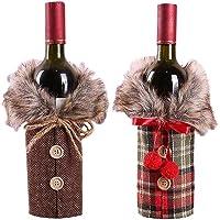 2pcs Christmas Sweater Wine Bottle Cover, Newest Collar & Button Coat Design Wine Bottle Sweater Wine Bottle Dress Sets Xmas Party Decorations