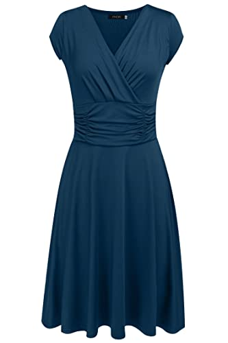 Finejo Women's V-Neck Casual Vintage Ruched Waist Cocktail Swing Party Dress