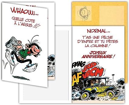 Gaston Lagaffe Glct 0139 Carte D Anniversaire Avec Motif Voiture Journal Amazon Fr Fournitures De Bureau