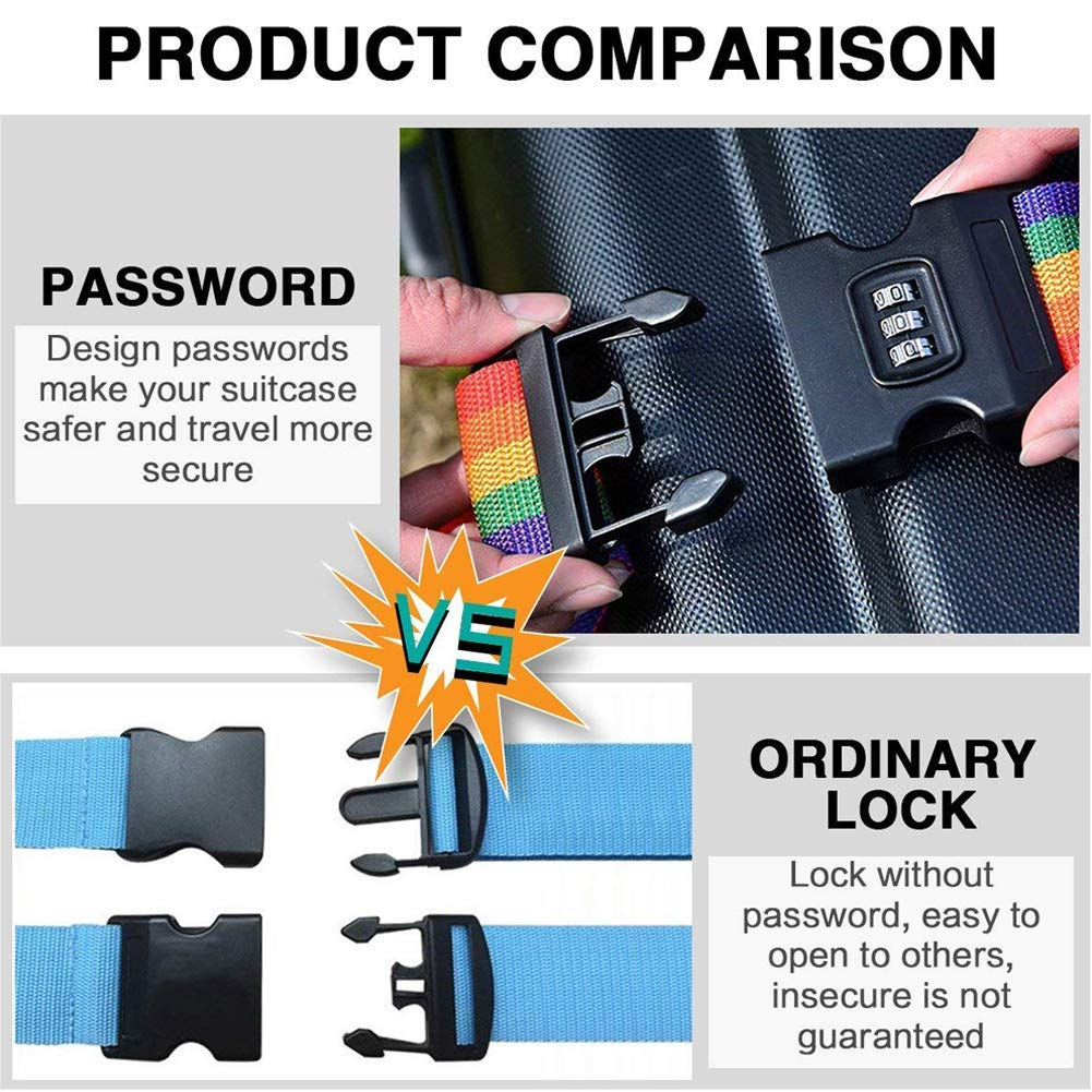 Baggage Suitcase Straps Belts Dinosaur Colorful Life Baggage Security Straps With 3-Dial Lock Length 41-74 Inch Adjustable Length Luggage Strap Buckle Closure