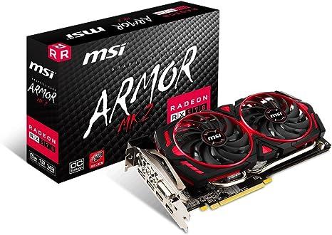 AMD Radeon RX 570 ARMOR OC 8G GDDR5 PCI Express 3.0 Graphics Card MSI Bla...