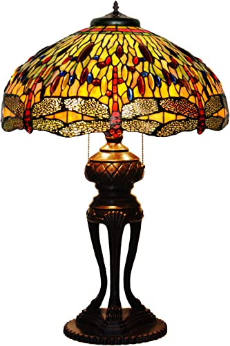 QCKDQ 46 cm Table Lamp, Tiffany Style Table Lamp with Peacock Glass Lamps, Romantic Retro Living Room Lights E27,D